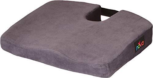 NOVA Coccyx Seat & Wheelchair Cushion, Memory Foam Cushion with Soft Velour Removable Cover, Tailbone & Spine Cut Out Cushion