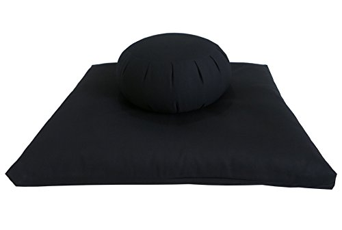 Buckwheat Zafu and Zabuton Meditation Cushion Set (2pc), Black