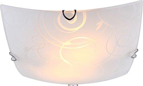 Lampada da soffitto a 2 luci lampada da soffitto camera da letto lampada in vetro satinato parete (Luce da soffitto, Faretto da soffitto, lampada da salotto, corridoio, rettangolare, 30 cm X ALTEZZA 9 cm, attacco 2 X E27) Globo