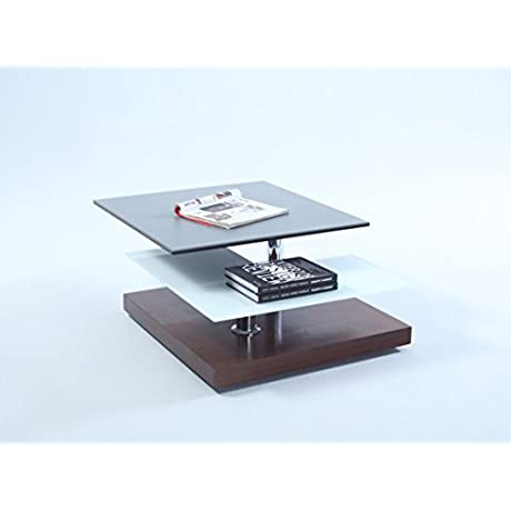 Milan LEIGHTON CT Leighton Ceramic Glass Swivel Top Cocktail Table Grey Walnut