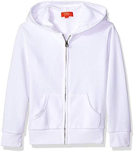 Butter Girls' Little Long Sleeve Fleece Hoodie, Printed Zip White, 4