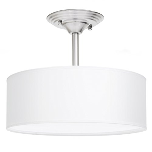 Best Choice Products 13in Semi-Flush Ceiling Mount 2-Bulb Pendant Light Fixture Chandelier - Brushed Nickel