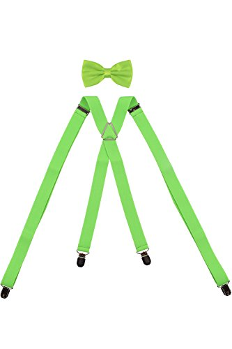 - ORSKY Mens Elastic Suspenders and Bow Tie Set X Shape Adjustable Green