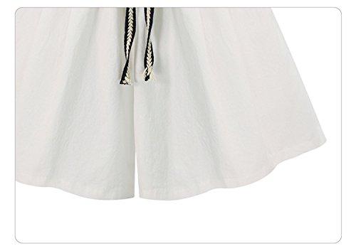 Laisla Corti Sciolto Hipster Eleganti Casual Pantaloni Shorts Estivi Vita Taglie Forti Fashion Alta Bianco Donna Pantaloncini zrAzq6