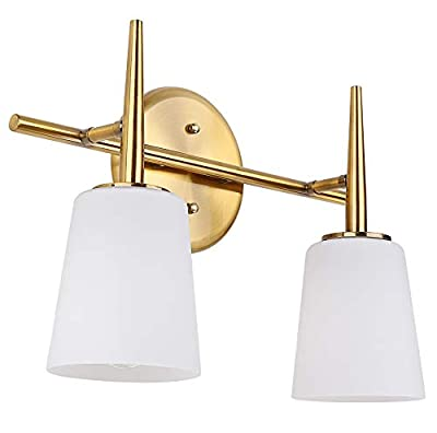 Cerdeco 2 Lights Vanity Lighting Bathroom Lighting Brass Finished Bar Light