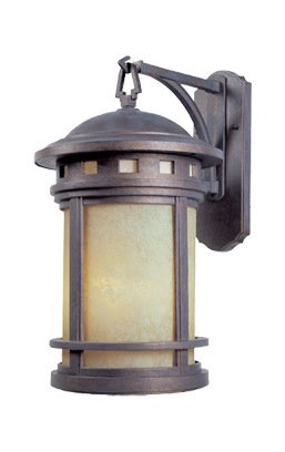 Mediterranean Patina w/amber 3 Light 11in. Cast Aluminum Wall Lantern from the Sedona Collection by Designers Fountain