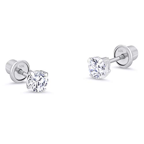 10k White Gold 2mm Basket Round CZ Cubic Zirconia Solitaire Children Screw Back Baby Girls ()