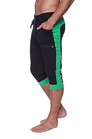 4-rth Men's Transition Cuffed Yoga Pant (XS, Black w/Bamboo Green)