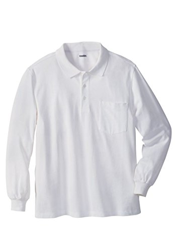 KingSize Men's Big & Tall Long-Sleeve Pique Polo Shirt With Pocket, White