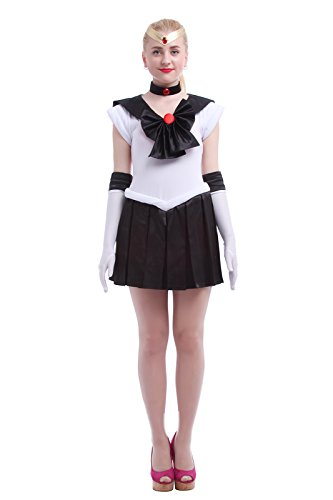 [Nuoqi Anime Sailor Uniforms Sweet Girls Customized Cosplay Costumes Full Sets (Small, O-Black)] (Sailor Saturn Costume)