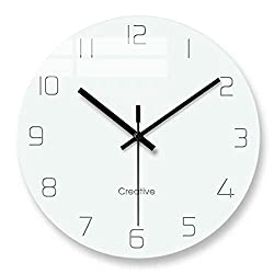 FlorLife Unique Vintage Wall Clock, Large Home Decorative Silent Non Ticking Quality Quartz Battery Operated Modern Glass Clock for Bedroom/Living Room/Office/School - White