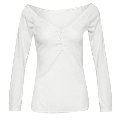 Unie Sexy Longue Manches Chemisier Blanc Tops Femme V Blouse Col Couleur Bringbring WH1nWTq