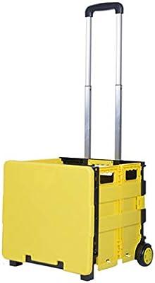 Carritos de la compra hogar Comprar carritos de Comida carritos pequeños Pueden ser doblados vehículos Push-Pull Pueden soportar Peso (Color : Yellow, ...