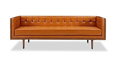 Kardiel Woodrow Midcentury Modern Box Sofa, Walnut, Caramel Aniline Leather