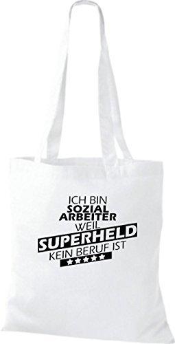 Shirtstown Bolso de tela Estoy Trabajador social, weil Superheld sin Trabajo ist Blanco