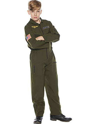 Underwraps Kid's Children's Air Force Flight Suit Costume - Khaki Childrens Costume, Green, -