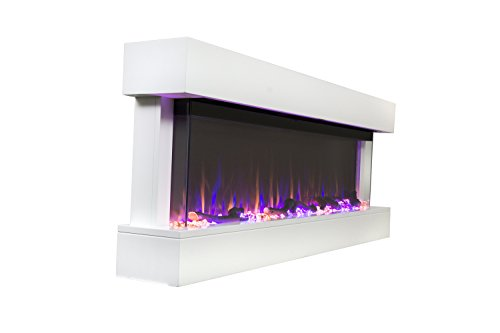 "Touchstone Chesmont 50"" 80033 50"" White Mantle, Wall Hanging Electric Fireplace"