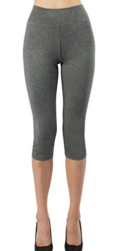 (iLoveSIA Women's Tights Capri 3/4 Workout Leggings US Size XL Heather)