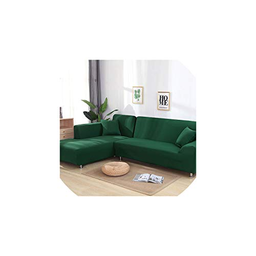 - fantasticlife06 1Pc L Shaped Sofa Cover Solid Couch Cover for Living Room Sofa Cover Slipcovers for 1/2/3/4-Seater Sectional Sofa,Green,1Pc 90-140Cm Cover,China