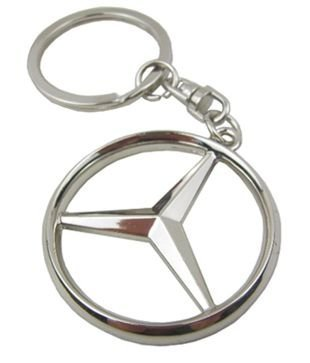 Oriental eLife Mercedes Benz 3D Logo Chrome Keychain Stainless Keychain Keyring -