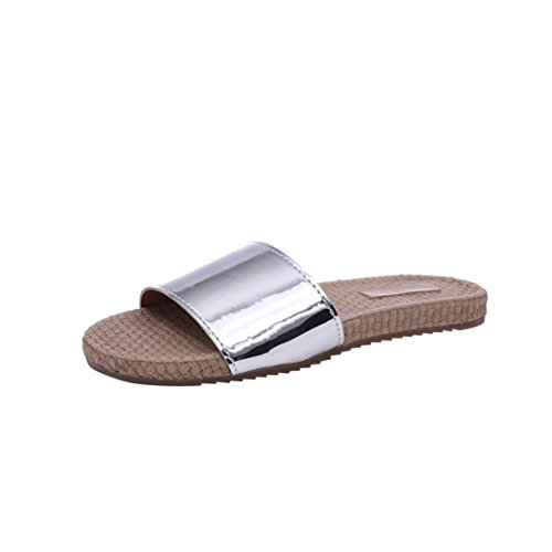 Price comparison product image Fashion Women Hemp Household Straw Concise Flat Shoes Platform Flops Indoor Outdoor Home Spa Hotel Summer Slippers Sandals (US:5.5,  Silver)