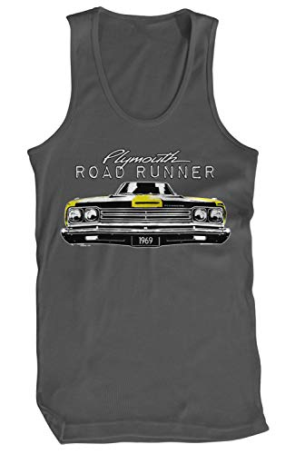 Amdesco Men's Plymouth Road Runner Officially Licensed Tank Top, Charcoal Grey 2XL ()