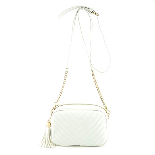(Simple Shoulder Crossbody Bag With Metal Chain Strap And Tassel Top Zipper (White))