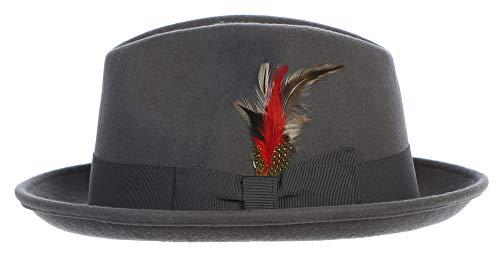 Men's Premium 100% Wool Fedora Hat-Many Colors (Medium, Gray) ()