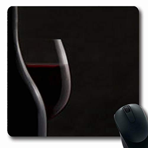 Pandarllin Mousepads Noir Bottle Red Wine Beverage Glass Food Drink Chardonnay Oblong Shape 7.9 x 9.5 Inches Oblong Gaming Mouse Pad Non-Slip Rubber Mat ()