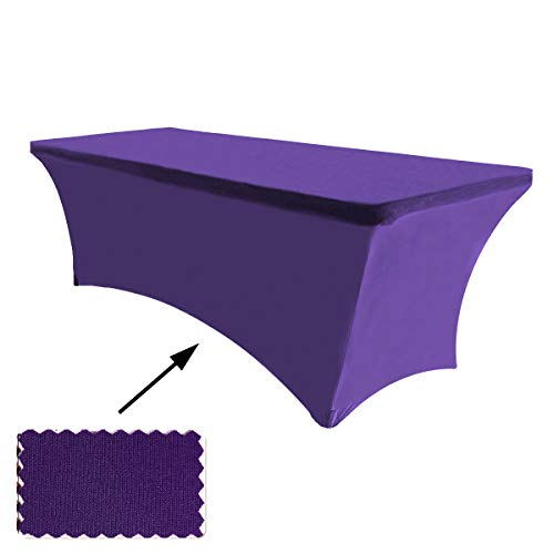 (ABCCANOPY 30+ Colors Spandex Table Cover 6 ft. Fitted Polyester Tablecloth Stretch Spandex Tablecover-Table Toppers(Purple))