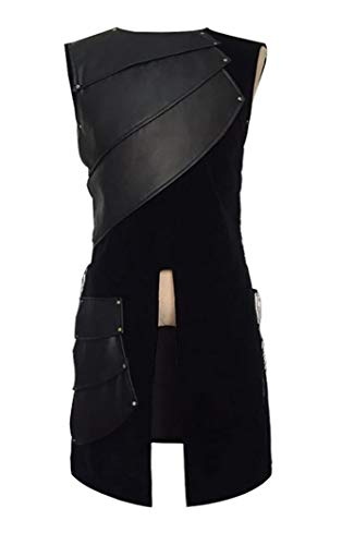 AoChuan Mens Warrior Vests Medieval King Warrior Party Armor Waistcoat (Black, M)