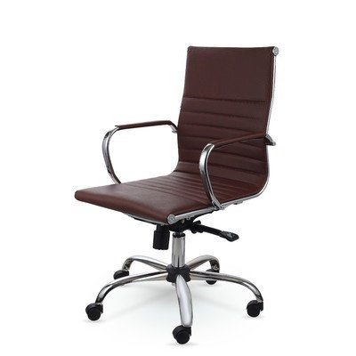 Mid Back Leather Swivel Office Conference Task Chair MZN7912 (Brown)