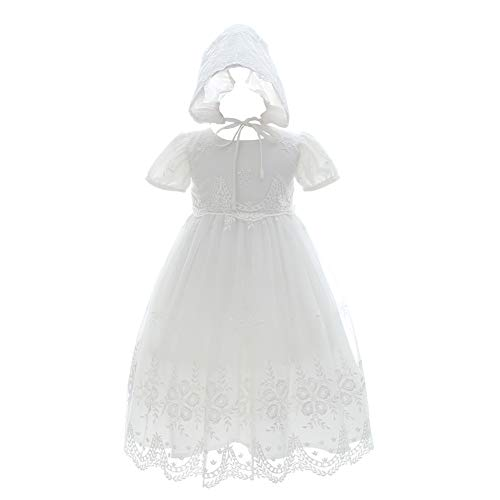 Meiqiduo Baby Girl Christening Dress Baptism Gowns Princess Wedding Party Formal Dresses (6M/6-12Months, Ivory)