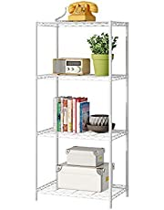 JEROAL 4 Tier Wire Shelving, Metal Wire Shelf Storage Rack, Durable Organizer Unit Perfect for Kitchen Garage Pantry Organization, White