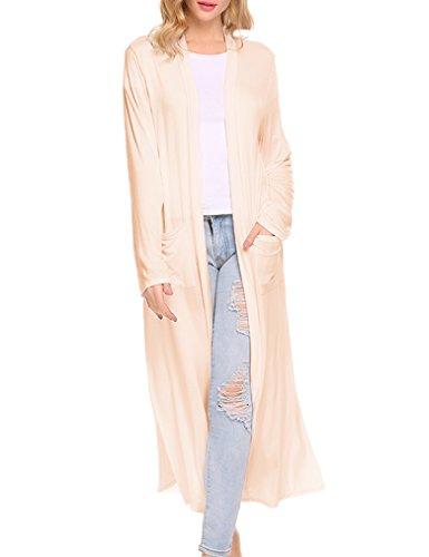 (Locryz Women's Long Open Front Maxi Duster Cardigans Long Sleeve Lightweight Sweaters (S, 07 Beige))