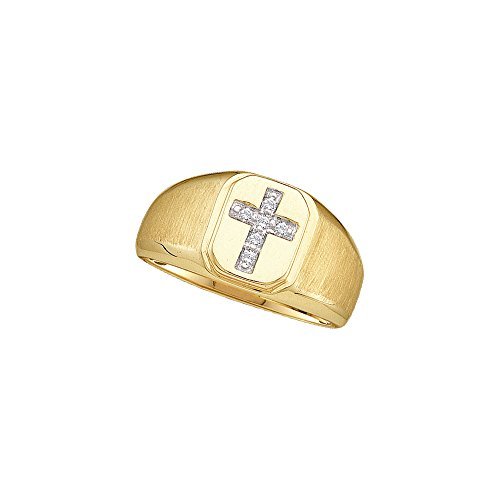 10kt Yellow Gold Mens Round Diamond Christian Cross Brushed Band (Mens Diamond Cross Ring)