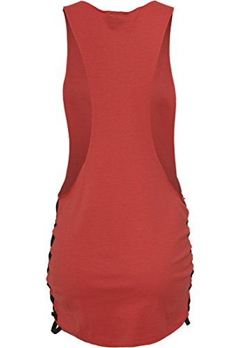 Ladies Side Knotted Loose Tank red/blk XS