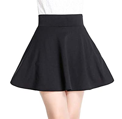 Domple Women A-Line High Waisted Pleated Slim Fit Solid Flare Skater Mini Skirts