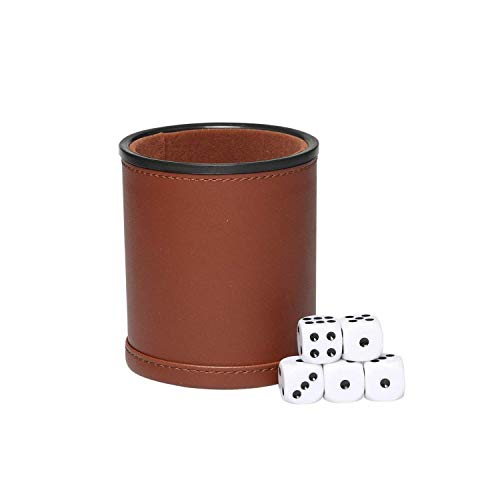 Brown Dice Game Set,Felt- Lined Leather Cup with 5 Standard Sized Dot Dices for Farkle Yahtzee Family Dice Games Night