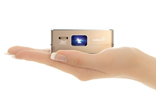 Ivation Pro3 Portable Rechargeable Smart DLP Projector - Streams via HDMI/MHL & USB Connections, Wi-Fi, Bluetooth - Compatible with DLNA, Miracast, Airplay Wireless Mirroring for iOS & Android - Gold