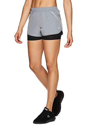 RBX Active Women's Workout Running Shorts w/Attached Bike Short S19 Charcoal S