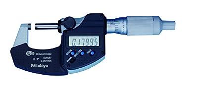 "Mitutoyo Digital Micrometer, 0 to 1""/25.4mm Measuring Range, 0-1"" .0001""/0.001mm Resolution, LCD, IP65 Protection"