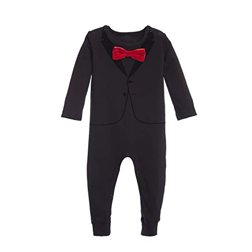 The Tiny Universe Tuxedo Onesie for Fancy Baby Boys, Satin Bow-Tie, Original Swedish Design (Red Bow-Tie, 3-6 Months (68)) ()