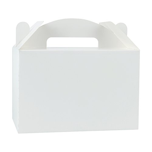 LaRibbons 12 Pack Treat Gift Boxes - 8.5 x 4.75 x 5.5 inches White Paper Box Recycled Kraft Gift Box Birthday Party Shower Favor Box ()