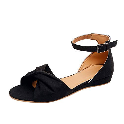 (Aunimeifly Women's Summer Leopard Bow Buckle Strap Open Toe Beach Breathable Sandals Rome Fish Mouth Flat Shoes Black)