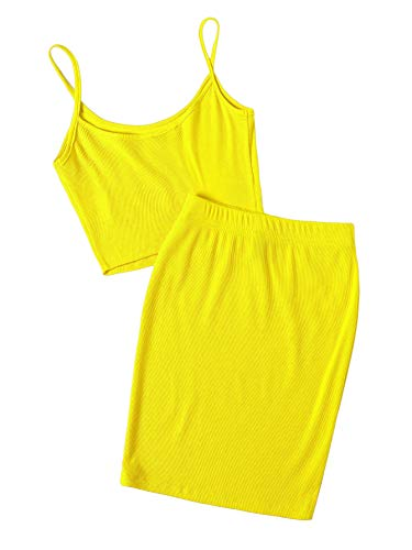 Floerns Women's 2 Piece Outfit Strap Cami Crop Top and Skirt Set Yellow S ()