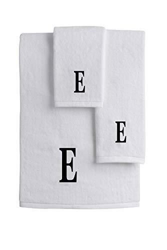 (Mandola Home Decor Personalized Monogrammed 3-Piece Towel Set | 100% Cotton | Bath Towel | Hand Towel | Face Towel | Soft and Absorbent Hotel Spa Quality (E))