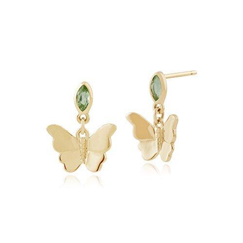 Gemondo Bague Boucles d'oreilles péridot, 0,15ct or jaune 9ct Peridot-Boucles d'Oreilles Pendantes Femme-Papillon