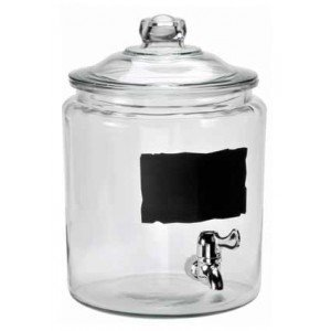 (Anchor Hocking Heritage Hill Glass 2 Gallon Beverage Dispenser with Chalkboard and Spigot by Anchor Hocking)