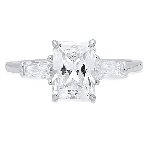 (1.94ct Emerald Baguette cut 3 stone Solitaire Accent Best Quality Moissanite Ideal VVS1 D & Diamond Simulant Engagement Promise Statement Anniversary Bridal Wedding Ring 14k White Gold, Size 5.75)